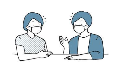 マスクをして会話する人たち
